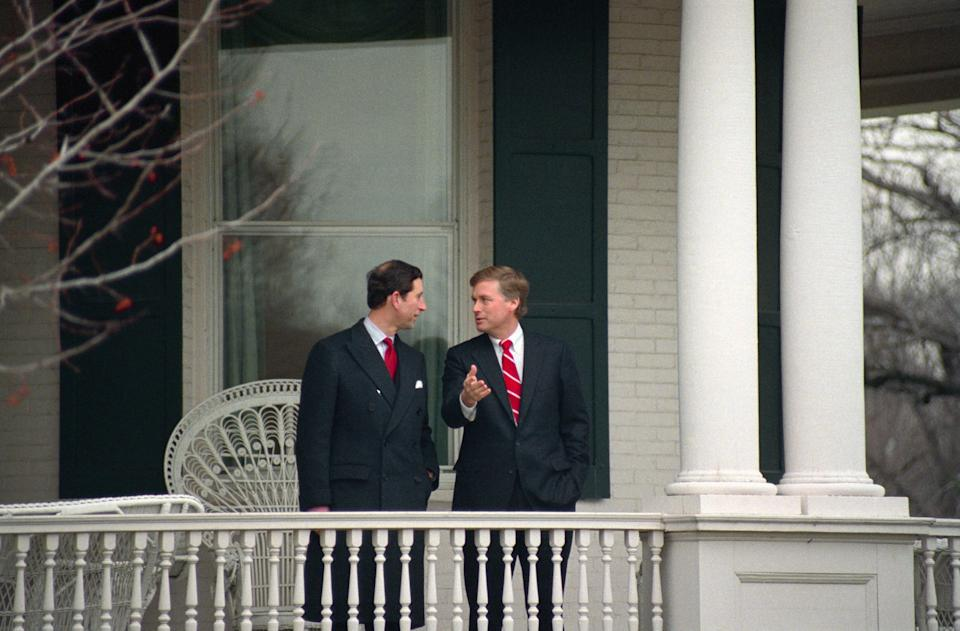 Prince Charles talks with Dan Quayle at the vice president's residence on Feb. 17, 1989.