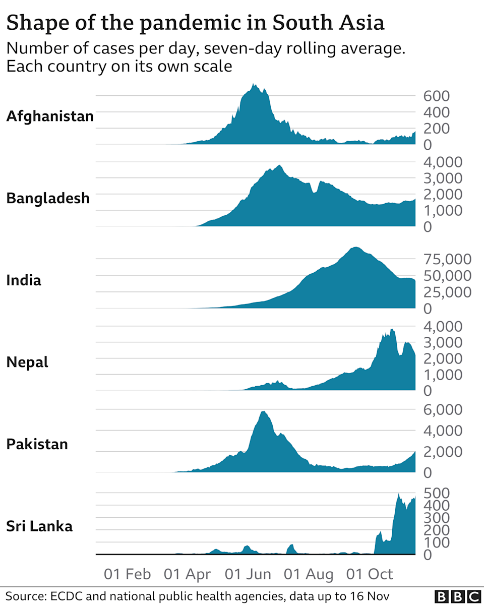 Chart comparing infections in South Asia- updated to November 16