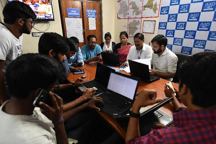 Up to one sixth of chat groups on Whatsapp in India are started by political parties (AFP Photo/Prakash SINGH)