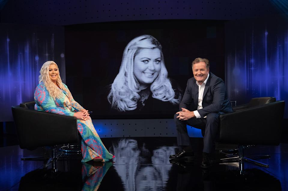 Editorial use only  Mandatory Credit: Photo by ITV/Gary Moyes/Shutterstock (11747216a)  Piers Morgan and Gemma Collins.  'Piers Morgan's Life Stories' TV Show, Series 17, Episode 4, UK - 11 Feb 2021  Piers Morgan's Life Stories, is a British ITV chat show, presented by journalist Piers Morgan. Recorded in front of a studio audience, each episode is devoted to one celebrity guest.