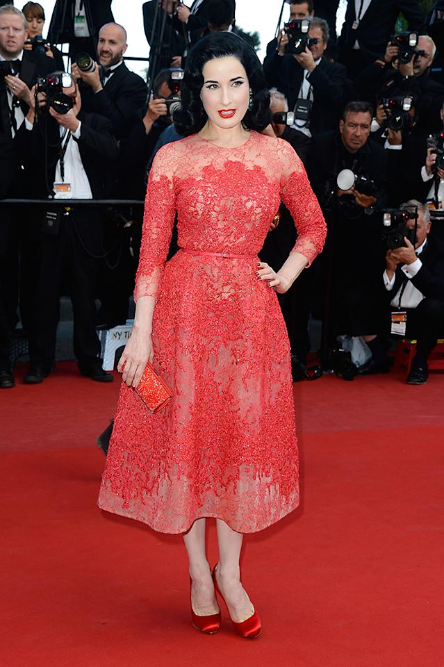 CANNES, FRANCE - MAY 21:  Dita Von Teese attends the 'Cleopatra' premiere during The 66th Annual Cannes Film Festival at The 60th Anniversary Theatre on May 21, 2013 in Cannes, France.  (Photo by Pascal Le Segretain/Getty Images)