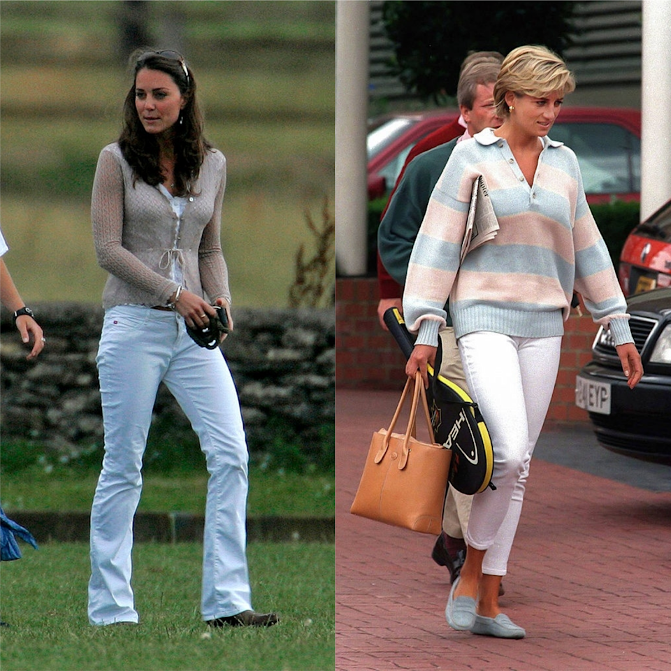 <p>Both mothers showed their penchant for white jeans. Kate wore a typically noughties, low-slung and bootcut version to Beaufort Polo Club in 2006, whilst Diana Spencer wore a slimmer cut pair whilst leaving a gym in 1997.</p>