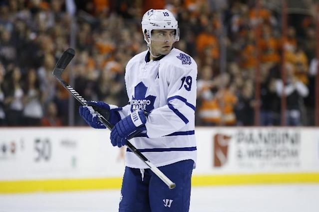 Toronto Maple Leafs' Joffrey Lupul in action during an NHL hockey game against the Philadelphia Flyers, Friday, March 28, 2014, in Philadelphia. (AP Photo/Matt Slocum)