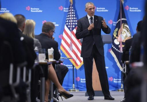 US President Barack Obama speaks to members of the Business Roundtable at their headquarters in Washington, DC on September 16, 2015
