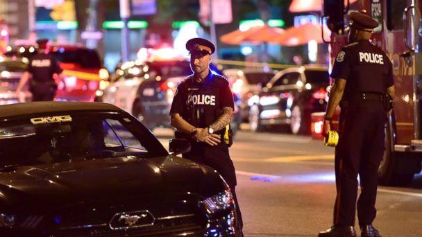 Police work the scene of a shooting in Toronto on Sunday, July 22, 2018. (AP)