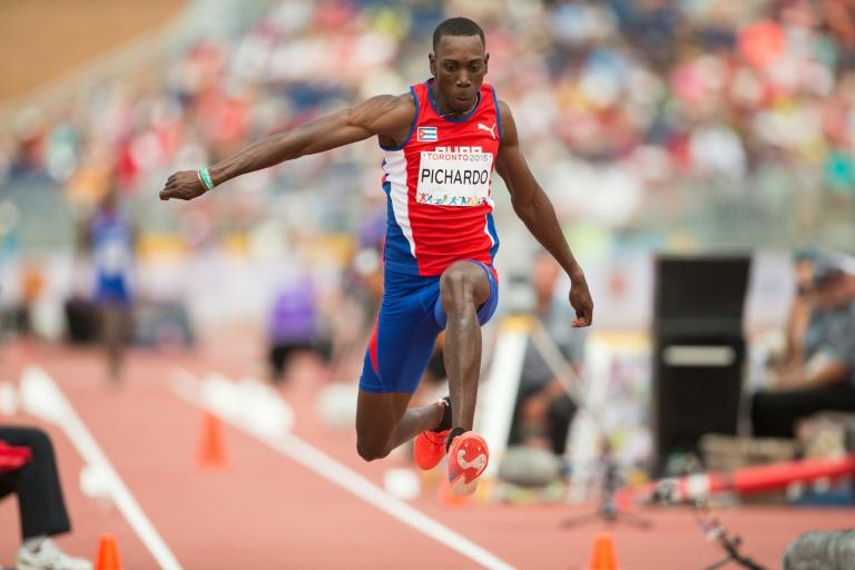 Pedro Pablo Pichardo of Cuba competes in the men's triple jump at CIBC Athletics Stadium at the 2015 Pan American Games in Toronto, Canada, July 24,  2015