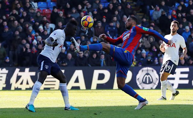"Soccer Football - Premier League - Crystal Palace vs Tottenham Hotspur - Selhurst Park, London, Britain - February 25, 2018 Tottenham's Davinson Sanchez in action with Crystal Palace's Jairo Riedewald REUTERS/Eddie Keogh EDITORIAL USE ONLY. No use with unauthorized audio, video, data, fixture lists, club/league logos or ""live"" services. Online in-match use limited to 75 images, no video emulation. No use in betting, games or single club/league/player publications. Please contact your account representative for further details."