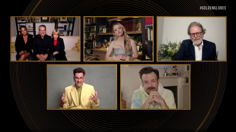 UNSPECIFIED: 78th Annual GOLDEN GLOBE AWARDS -- Pictured in this screengrab released on February 28, (l-r) Best Television Series – Musical or Comedy nominees Darren Star, Kaley Cuoco, Tony McNamara, Dan Levy, and Jason Sudeikis speak during the 78th Annual Golden Globe Awards broadcast on February 28, 2021. -- (Photo by NBC/NBCU Photo Bank via Getty Images)