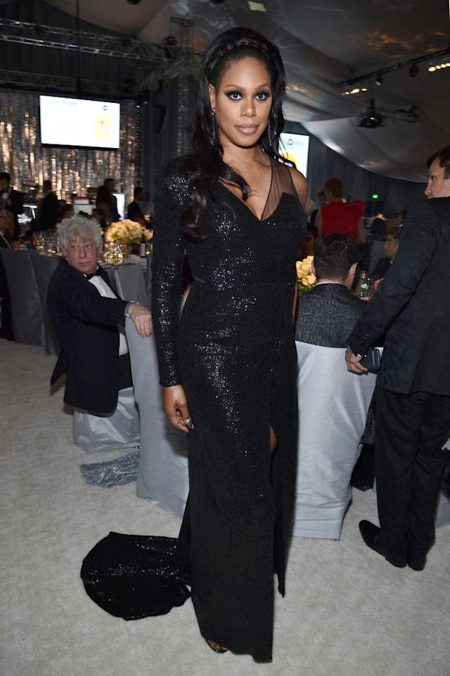 <p>Laverne Cox wears Rohit Gandhi + Rahul Khanna. (Photo: Getty Images) </p>