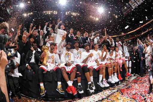 MIAMI, FL - JUNE 20: Members of the Miami Heat pose for a photo after defeating the San Antonio Spurs in Game Seven of the 2013 NBA Finals on June 20, 2013 at the American Airlines Arena in Miami, Florida. (Photo by Andrew D. Bernstein/NBAE via Getty Images)