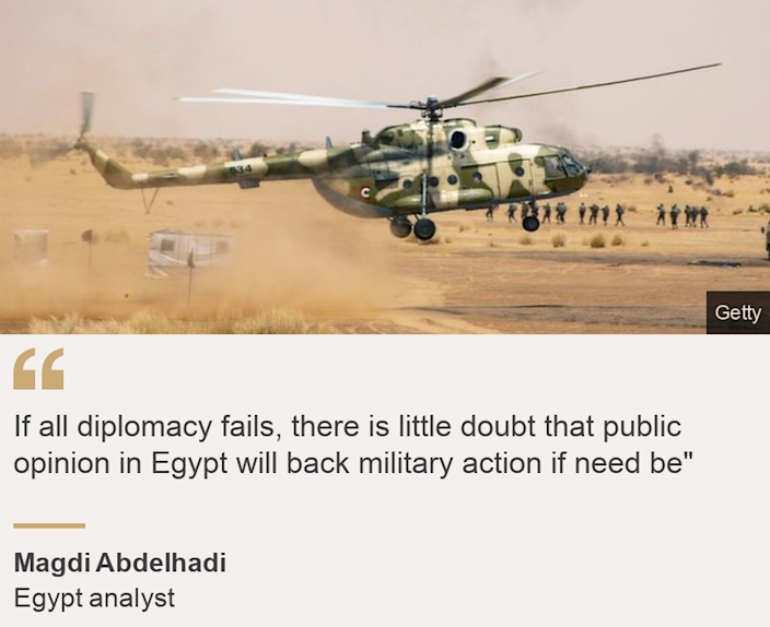 """""""If all diplomacy fails, there is little doubt that public opinion in Egypt will back military action if need be"""""""", Source: Magdi Abdelhadi, Source description: Egypt analyst, Image: Helicopter"""