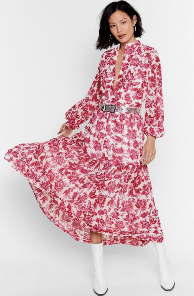 Nasty Gal White Paisley Floral V Neck Maxi Dress, on sale for $58. Photo: Nasty Gal.