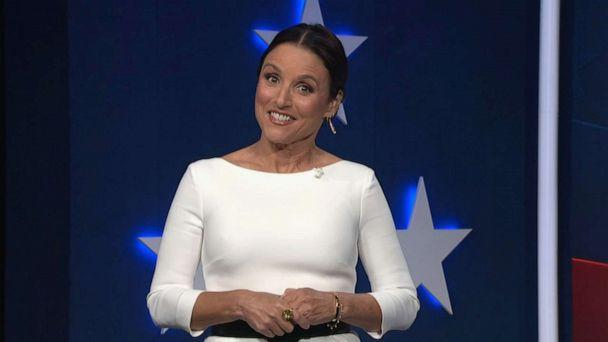 PHOTO: Julia Louis-Dreyfus, serving as moderator, speaks during the fourth night of the Democratic National Convention, Aug. 20, 2020. (Democratic National Convention)
