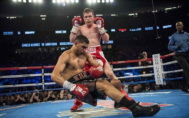 Amir Khan was brutally knocked out bySaul 'Canelo' Alvarez - Copyright (c) 2016 Rex Features. No use without permission.
