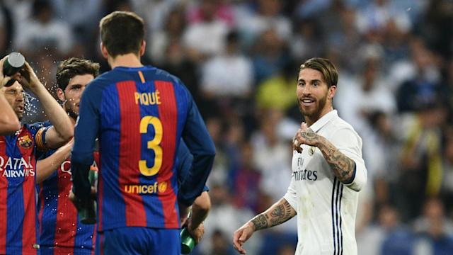 Sergio Ramos protested his innocence after his red card in Real Madrid's loss to Barcelona, before taking aim at Gerard Pique.