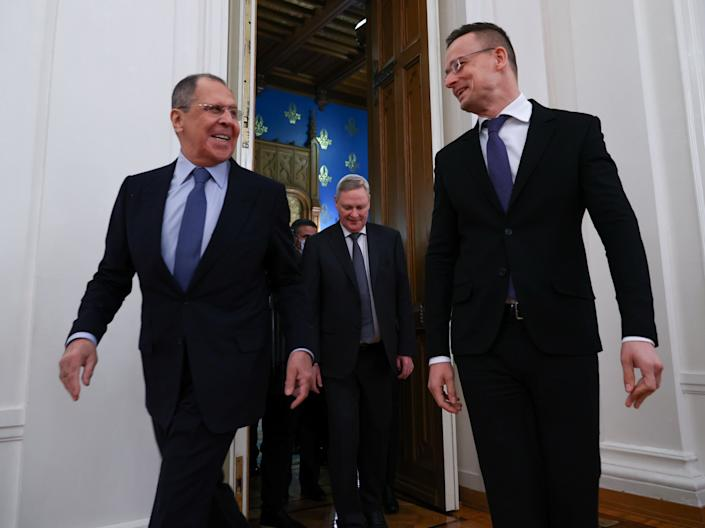 Russian foreign minister Sergei Lavrov meets his Hungarian counterpart Peter Szijjarto in Moscow (Reuters)