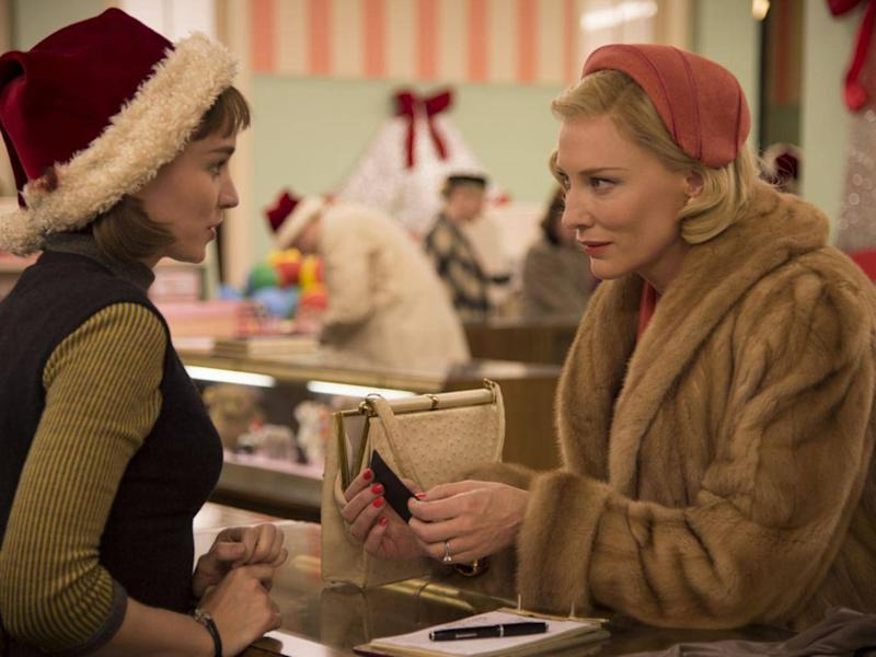 Affairs of the heart: Rooney Mara, left, and Cate Blanchett as lovers Therese and Carol in the adaptation of Patricia Highsmith's novel