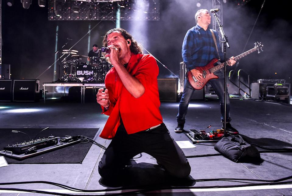 <p>Gavin Rossdale of Bush performs during the Concerts in Your Cars drive-in show at Ventura County Fairgrounds and Event Center on Saturday in Ventura, California.</p>