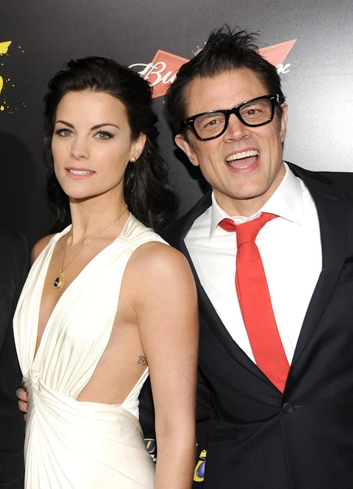 "HOLLYWOOD, CA - JANUARY 14:  Actors Jaimie Alexander (L) and Johnny Knoxville arrive at the premiere of Lionsgate Films' ""The Last Stand"" at Grauman's Chinese Theatre on January 14, 2013 in Hollywood, California.  (Photo by Kevin Winter/Getty Images)"