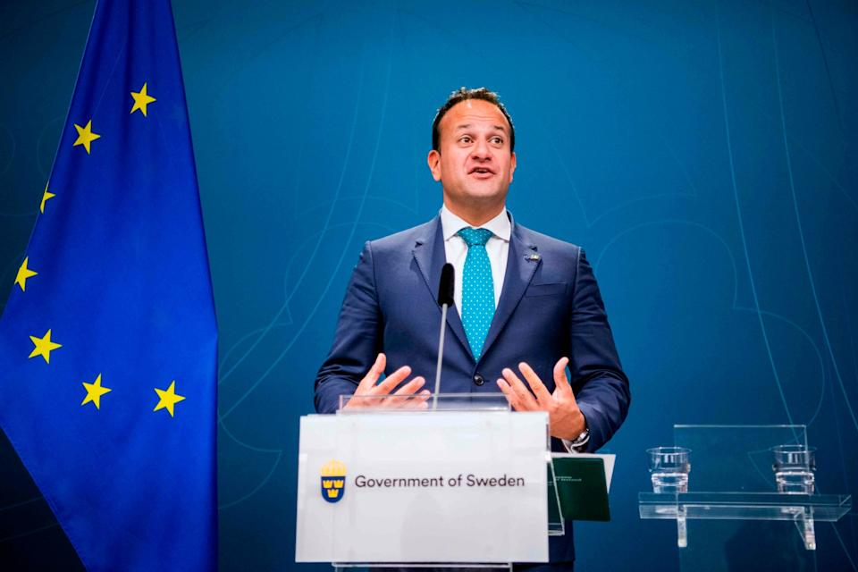 Leo Varadkar gives a press conference following a meeting with the Swedish prime minister in Stockholm: AFP/Getty