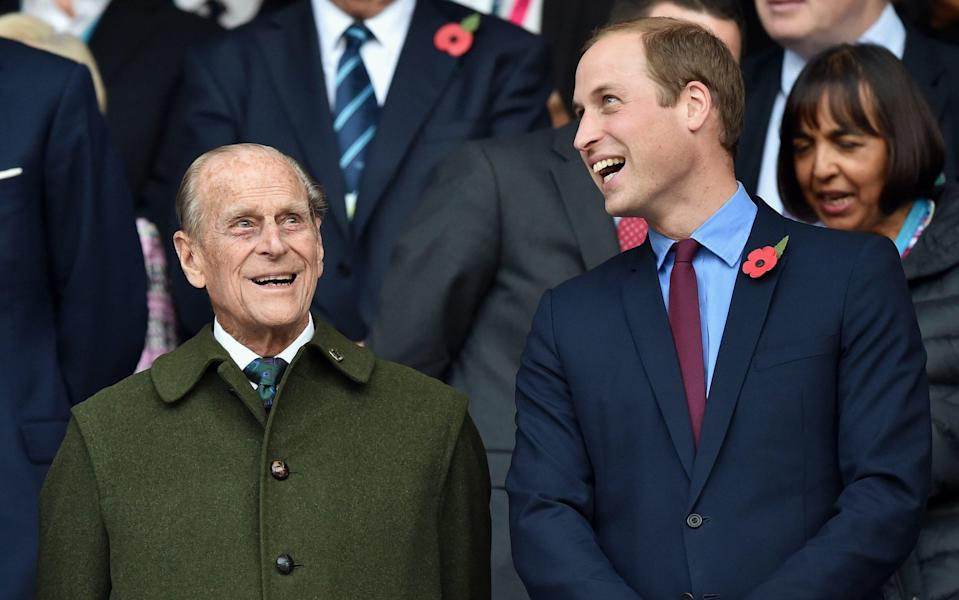 Prince Philip, Duke of Edinburgh and Prince William, Duke of Cambridge attend the 2015 Rugby World Cup Final match  -  Max Mumby/Pool/Indigo/Getty