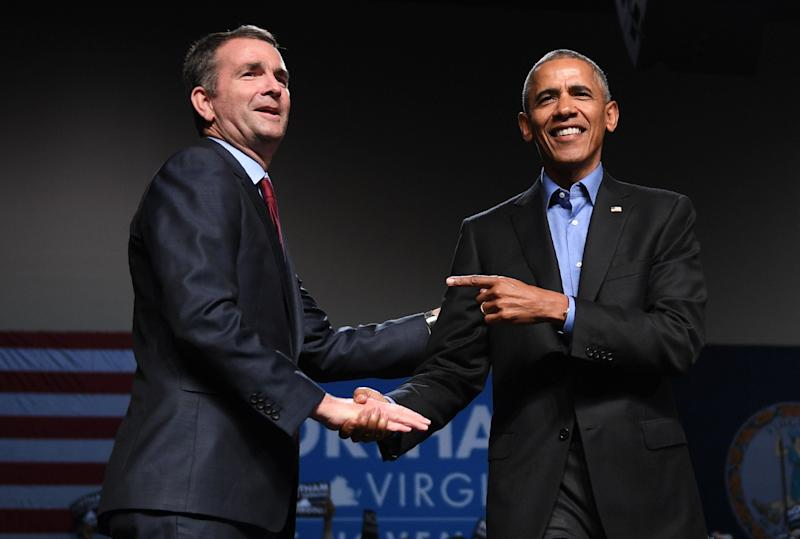 Former President Barack Obama spoke at a campaign rally for Ralph Northam in Richmond, Virginia, on Oct. 19, 2017.