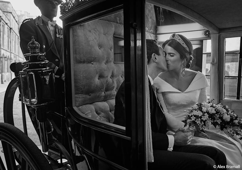 Princess Eugenie and Jack Brooksbank smooch in the Scottish State Coach as it returns to Windsor Castle following the Carriage Procession. (Photo: Alex Bramall/Courtesy Buckingham Palace)