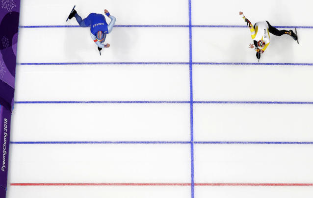 <p>Henrik Fagerli Rukke of Norway, left, and Belgium's Mathias Voste compete during the Men's 1,000m Speed Skating race at the Gangneung Oval at the PyeongChang 2018 Winter Olympics in South Korea, Feb. 23, 2018.<br> (AP Photo/Eugene Hoshiko) </p>