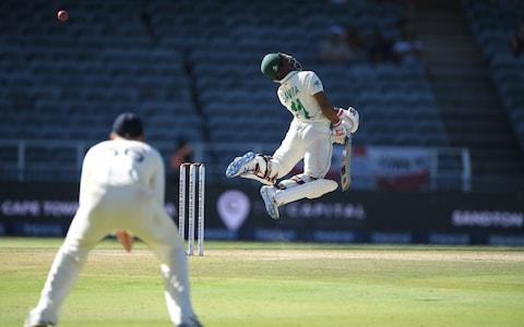 South Africa batsman Temba Bavuma is caught behind off the bowling of Stuart Broad during Day Four of the Fourth Test between South Africa and England at Wanderers - Credit: Stu Forster/Getty Images