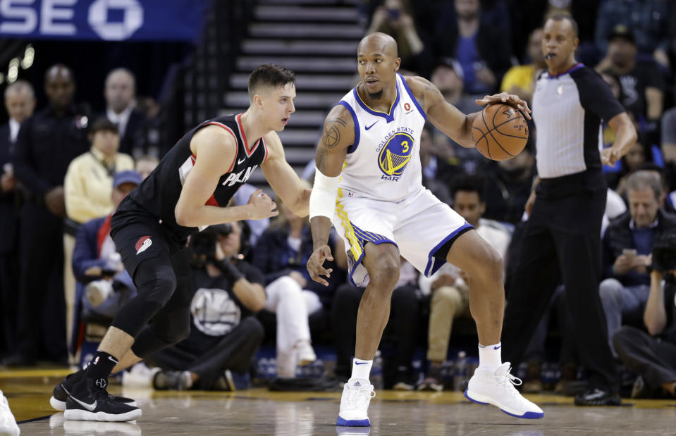 Former Warriors big man David West helped build Portland counterpart Zach Collins' confidence even before he entered the NBA. (AP)