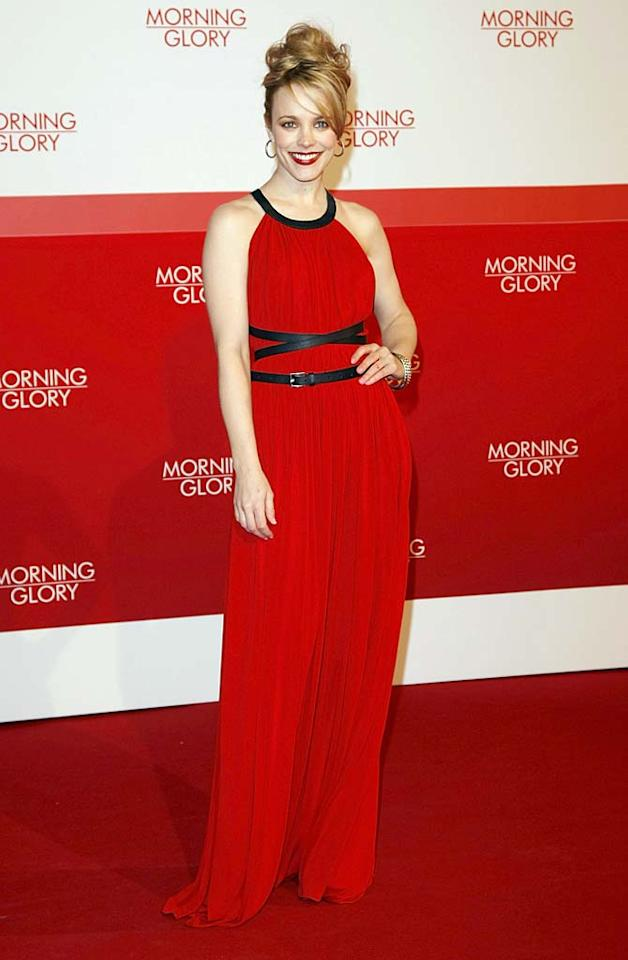 """Also spotted in the saucy shade ... Rachel McAdams, who rocked the red carpet in a radiant Michael Kors gown (which featured black leather trim and a criss-cross belt) upon arriving at the Berlin debut of her rom-com, """"Morning Glory."""" Florian G. Seefried/<a href=""""http://www.gettyimages.com/"""" target=""""new"""">GettyImages.com</a> - January 9, 2011"""