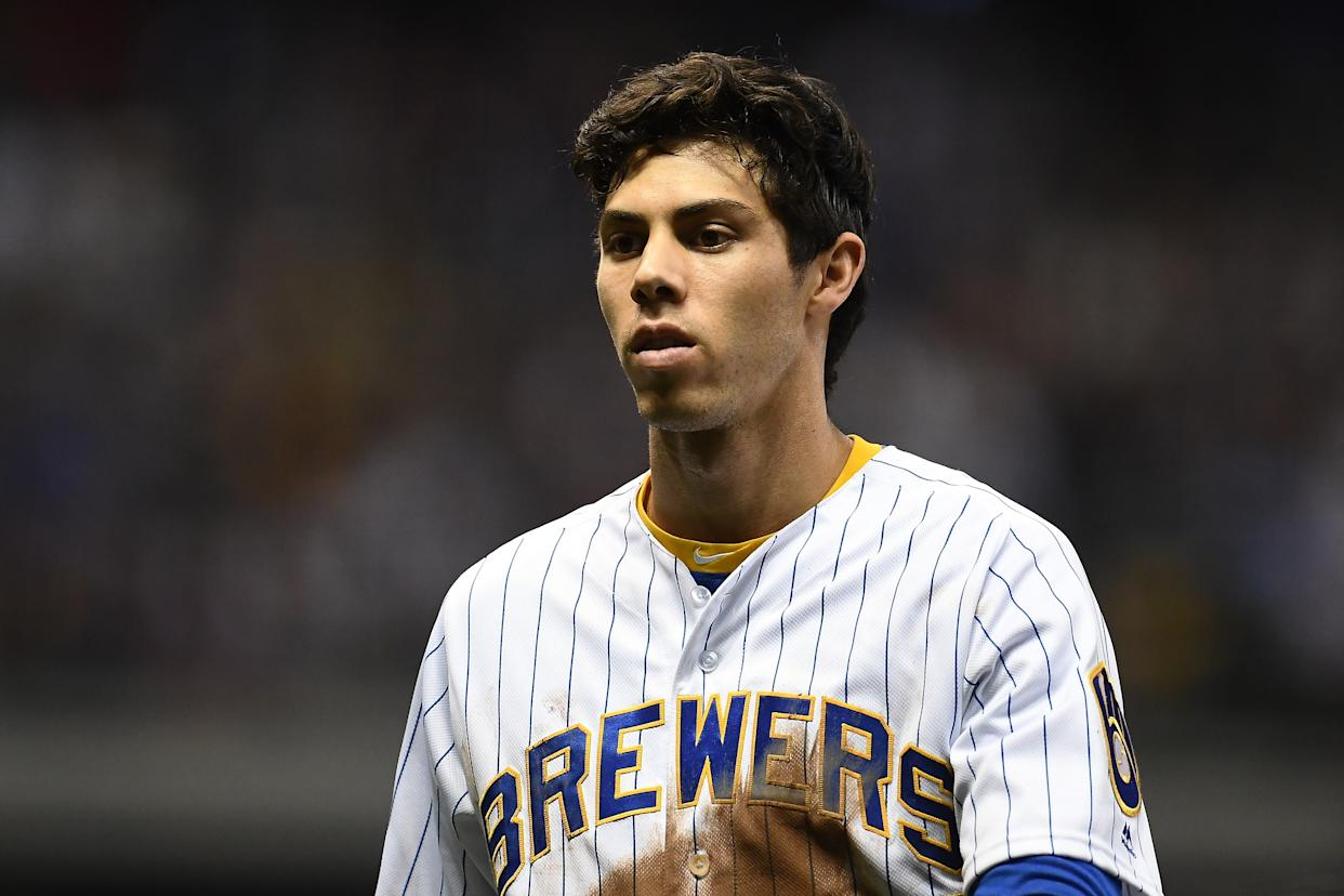 MILWAUKEE, WISCONSIN - SEPTEMBER 06:  Christian Yelich #22 of the Milwaukee Brewers walks to the dugout during a game against the Chicago Cubs at Miller Park on September 06, 2019 in Milwaukee, Wisconsin. (Photo by Stacy Revere/Getty Images)
