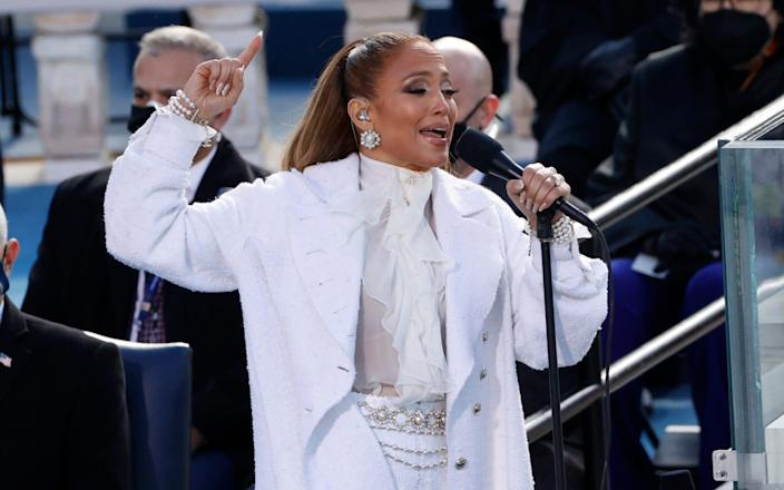 Jennifer Lopez performs during the inauguration of Joe Biden as the 46th President of the United States on the West Front of the U.S. Capitol in Washington, U.S., January 20, 2021. - REUTERS