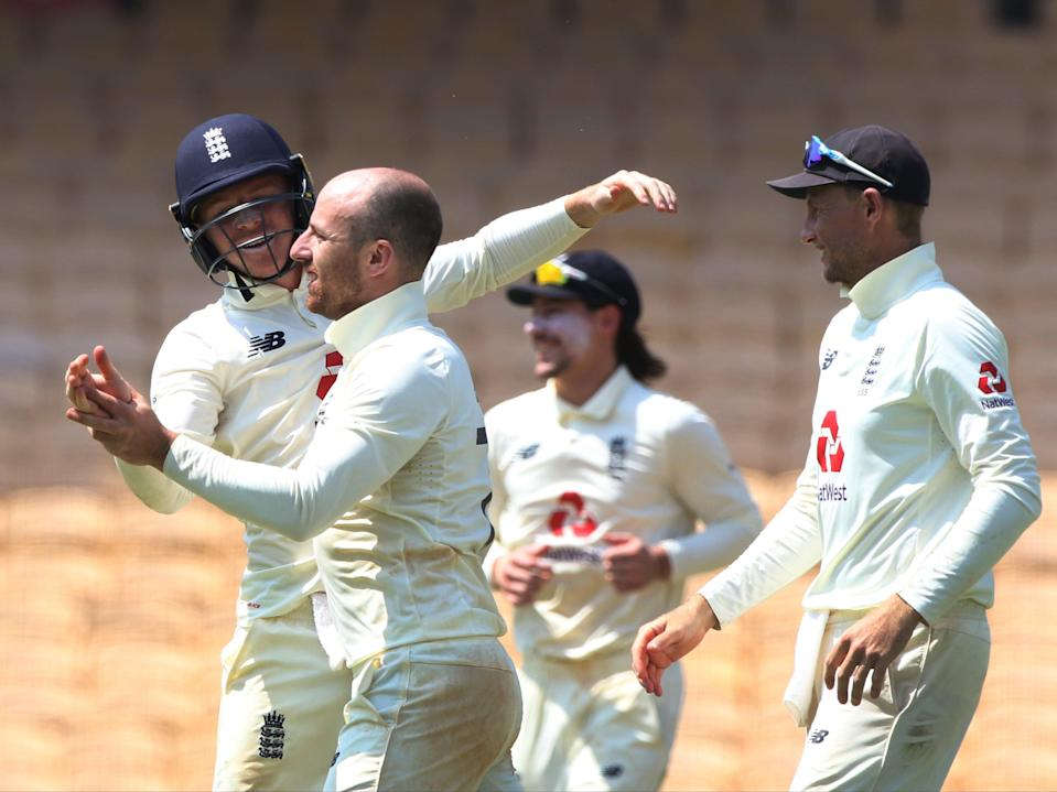 <p>England players celebrate after Jack Leach takes a wicket</p> (ECB)
