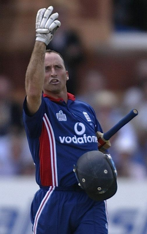 LONDON, ENGLAND - JULY 13:  Nasser Hussain of England gestures to the press box after scoring his century during the match between England and India in the NatWest One Day Series Final at Lord's in London, England on July 13, 2002. (Photo by Clive Mason/Getty Images)