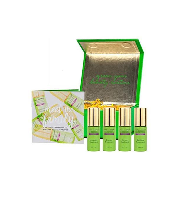 "<p>Be Well: Aromatic Mood Therapy Collection, $240,<a href=""http://www.tataharperskincare.com/be-well-aromatic-mood-therapy-collection-2"" rel=""nofollow noopener"" target=""_blank"" data-ylk=""slk:tataharperskincare.com"" class=""link rapid-noclick-resp""> tataharperskincare.com</a> </p>"
