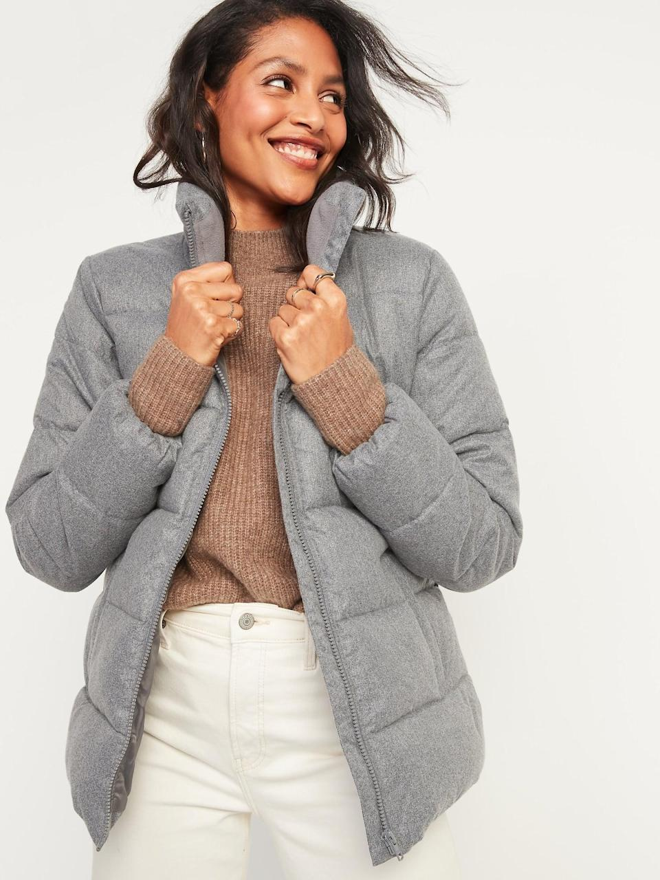 <p>The <span>Frost-Free Textured Puffer Zip Jacket </span>($36, originally $55) has a wool-like feel.</p>