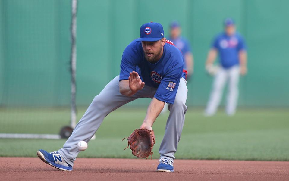 Ben Zobrist takes infield practice with the Chicago Cubs before a Sept. 24, 2019 game against the Pittsburgh Pirates.