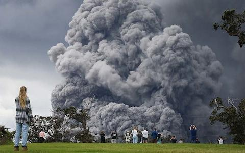 Clouds of ash bellow from Kilauea - Credit: Getty