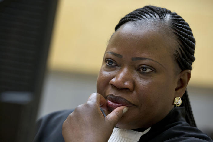 FILE - In this Tuesday, Nov. 15, 2016, file photo, International Criminal Court prosecutor Fatou Bensouda waits for the start of trial in The Hague, Netherlands. Bensouda addressed the United Nations Security Council virtually on Wednesday, June 9, 2021, in her final briefing to the council. (AP Photo/Peter Dejong, File)
