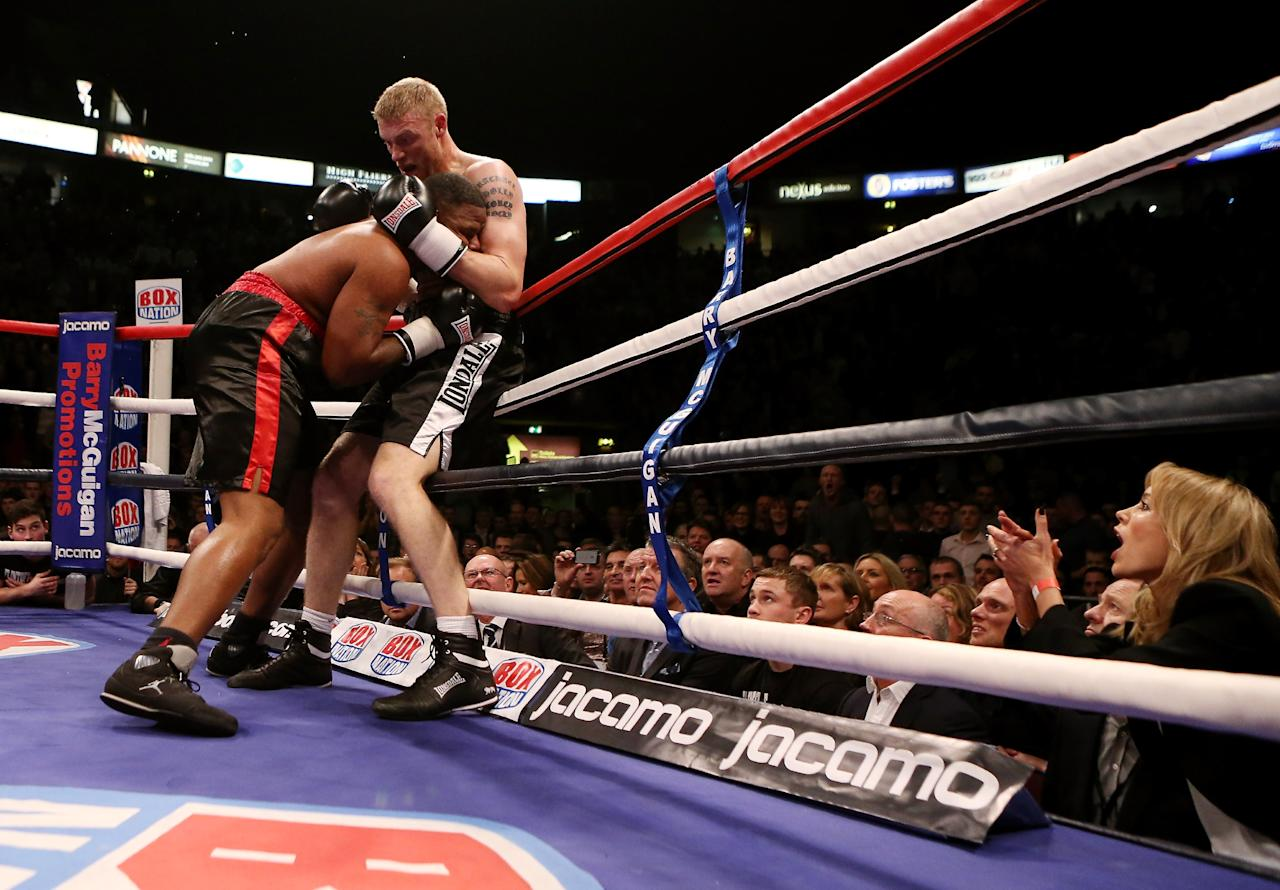 MANCHESTER, ENGLAND - NOVEMBER 30:  Andrew Flintoff is cheered on by his wife Rachael during his International Heavyweight bout with Richard Dawson at MEN Arena on November 30, 2012 in Manchester, England.  (Photo by Scott Heavey/Getty Images)