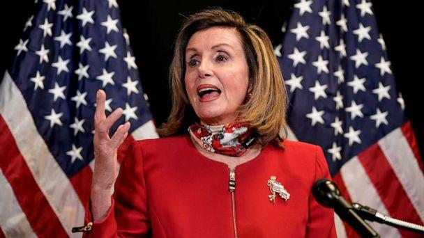 PHOTO: Speaker of the House Nancy Pelosi talks to reporters about election day results in races for the House of Representatives, at Democratic National Committee headquarters in Washington, Nov. 3, 2020. (J. Scott Applewhite/Pool/AFP via Getty Images)