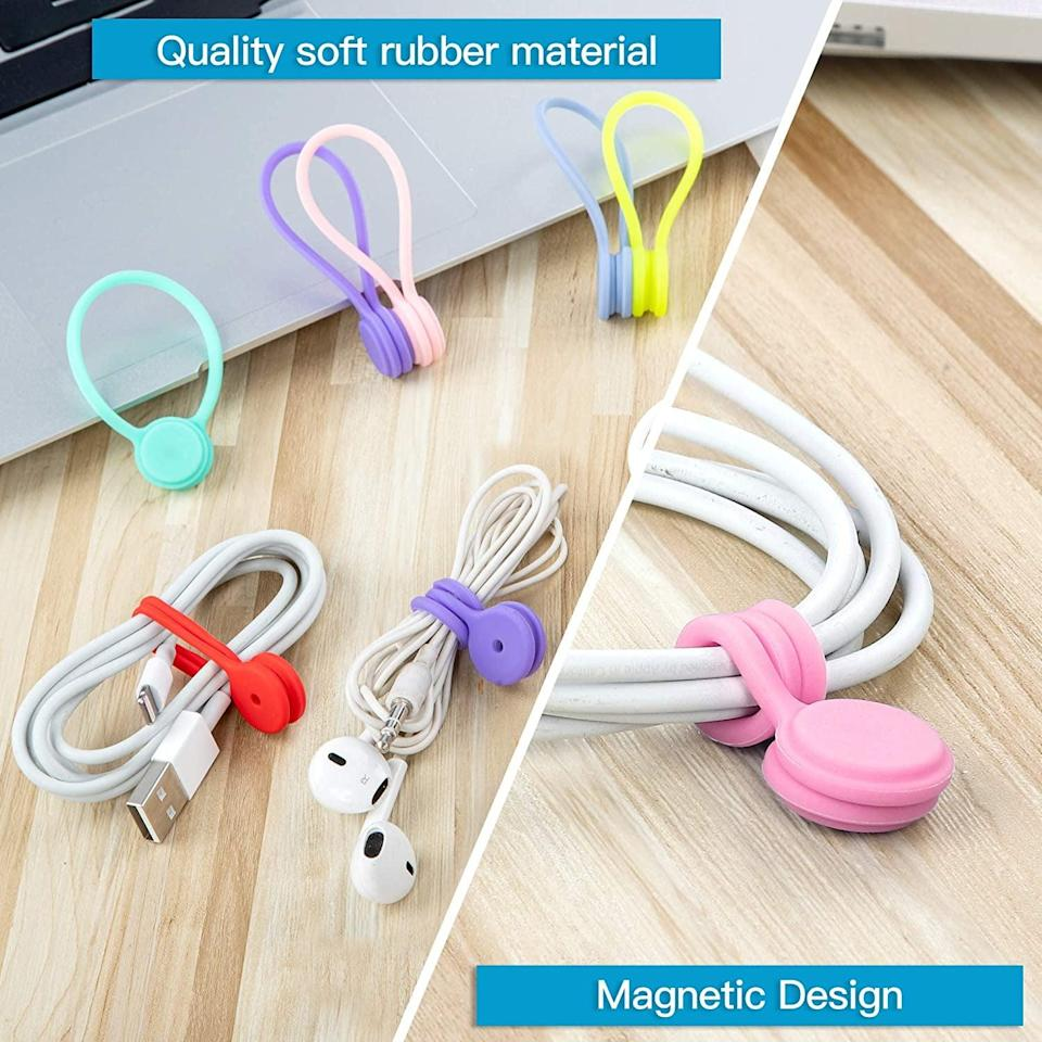 <p>These reusable <span>Joseche Reusable Magnetic Cable Ties</span> ($15, originally $16) keep my cords from becoming ridiculously tangled (as they always seem to get). The set comes with 12 cord ties, and they're incredibly useful around the house, so I find myself using them even when I'm not traveling.</p>