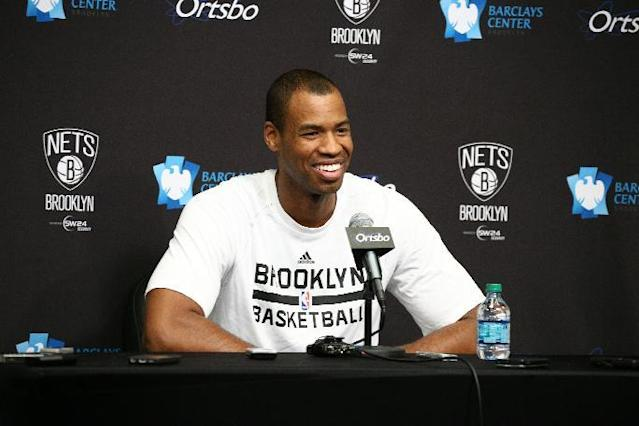 BROOKLYN, NY - MARCH 3: Jason Collins #98 of the Brooklyn Nets speaks at a press conference during a game at the Barclays Center on March 3, 2014 in the Brooklyn borough of New York City. (Photo by Nathaniel S. Butler/NBAE via Getty Images)