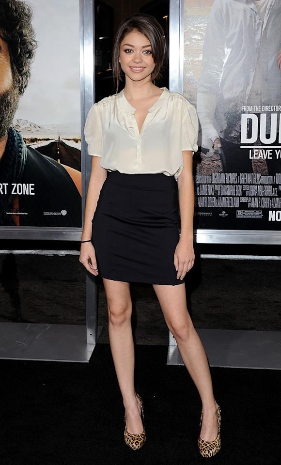 """<a href=""""http://movies.yahoo.com/movie/contributor/1808766873"""">Sarah Hyland</a> attends the Los Angeles premiere of <a href=""""http://movies.yahoo.com/movie/1810116445/info"""">Due Date</a> on October 28, 2010."""