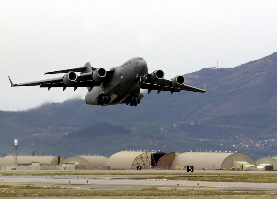 File Photo: A US Air Force C-17 pictured at Aviano air base in Italy (US Air Force)
