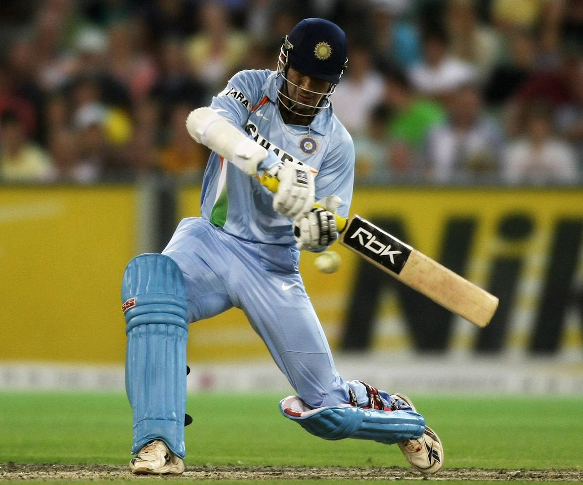MELBOURNE, AUSTRALIA - FEBRUARY 01:  Irfan Pathan of India  plays a cut shot during the Twenty20 International match between Australia and India at The Melbourne Cricket Ground on February 1, 2008 in Melbourne, Australia.  (Photo by Quinn Rooney/Getty Images)