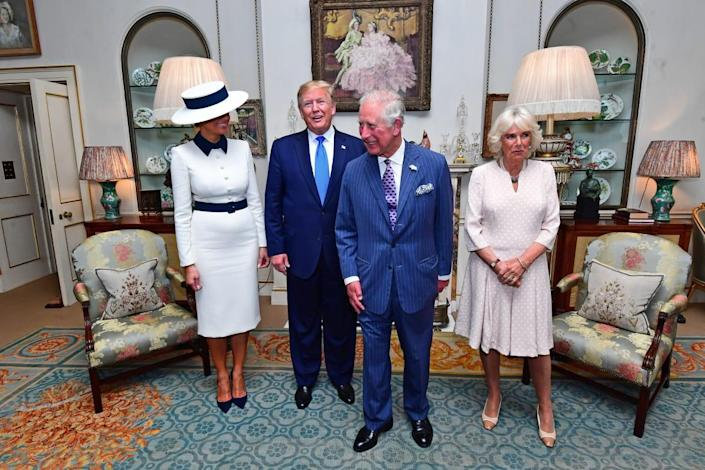 "<div class=""inline-image__caption""><p>President Trump and Melania take tea with Prince Charles, Prince of Wales and Camilla, Duchess of Cornwall (R) at Clarence House on June 3, 2019 in London, England.</p></div> <div class=""inline-image__credit"">Victoria Jones - WPA Pool/Getty Images</div>"