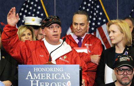 Feal addresses a news conference with Schumer and Gillibrand about their support for a bill at the U.S. Capitol in Washington in this file photo