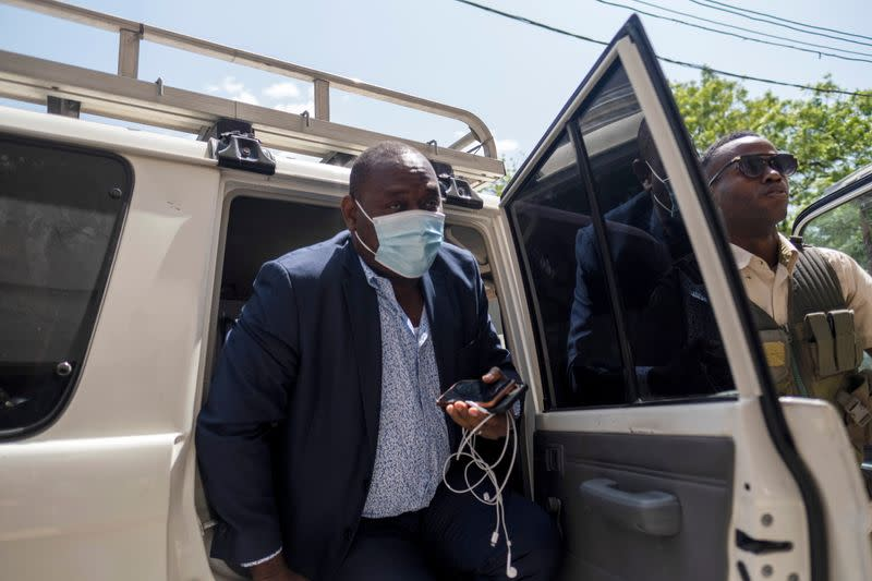 Judge Bed-Ford Claude arrives at the courthouse to preside a hearing following the assassination of President Jovenel Moise